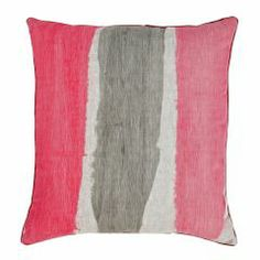 Hand painted stripes in shades of neon pinks and grey with a neon pink trim bonnie and neil Pink Cushions, Floor Cushions, Bonnie And Neil, Hand Painted Fabric, Paint Stripes, Textile Fabrics, Printed Linen, Fabric Painting, Pink Grey