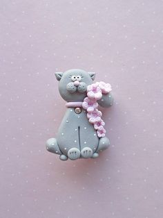 Cat pin created from polymer clay without using molds or forms. A cute gift idea for cat lovers of for kids. The pin is not heavy and is suitable for kids. The lenght of it is 4.8 cm. ❀ Price is for one brooch. ❀ I ship the orders in cute handmade boxes. ❀ If you buy two or more items from