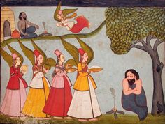 (Probably Ibrahim ibn Adham.) Angels bringing food to an ascetic.    Creation…