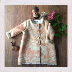 Girls jacket, blanket coat dekenjas made of a vintage salmon with beige wool…