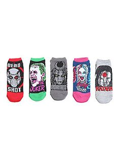 You need these bad...real bad // DC -Comics Suicide Squad No Show Socks 5-Pair