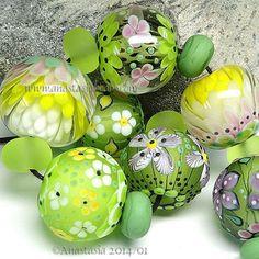 "ANASTASIA--lampwork beads--(7)--""PRIMAVERA""--SRA"