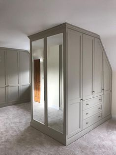 loft conversions Bespoke built-in wardrobe. hand crafted to fit into a loft space. Designed and manufactured in in the Bedroom Built In Wardrobe, Attic Bedroom Storage, Attic Master Bedroom, Attic Bedroom Designs, Loft Storage, Attic Wardrobe, Bedroom Layouts, Bedroom Loft, Small Built In Wardrobe Ideas