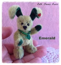 Mini Bunny Emerald and his Ladybug friend by Beth Franco Bears. He is 2.5 inches tall (not including his ears!)