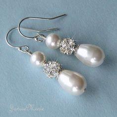 Bridal Earrings Rhinestone Fireball and Teardrop by JaniceMarie
