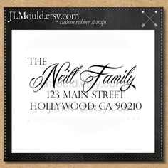 0047 Handwriting Calligraphy Script Family Modern Last Name Custom Rubber Stamp Personalized Stationery Wedding Return Address Self Inking - JLMould.etsy.com