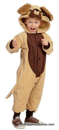 Fun and comfy, this toddler size dog costume includes a brown polar fleece jumpsuit with attached tail and dog face and ears on the hood, snap front closure, and two pockets. Great for boys or girls!