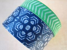 Washi Tape  Double Roll  Green White and Blue by HazalsBazaar, $5.00