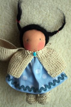 """ooak waldorf inspired doll : ZOE, tiny 4"""" pocket baby and her little sleeping bag in her little house"""