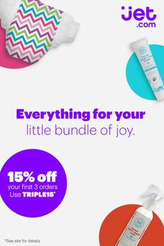 Save on the top organic brands for your baby at Jet.com. Get 15% off your first 3 orders using code TRIPLE15*. Plus, enjoy 2-day delivery on thousands of everyday essentials.