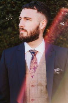 42c513f23b222 Groom Suit Style Waistcoat Tie Navy Tweed Romantic Wedding Ideas Neon  Lighting Kate McCarthy Photography