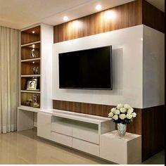 Living room tv wall decor tv shelf 19 new Ideas Tv Cabinet Design, Tv Wall Design, Living Pequeños, Small Living, Modern Living, Tv Wanddekor, Living Room Tv Unit Designs, Tv Stand For Living Room, Tv Wall Unit Designs