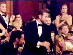 And when good guy Bradley Cooper jumped up to help Jennifer Lawrence when she fell: | 19 Oscar Moments You Didn't See LastNight