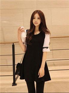 熱い販売韓国スタイルスプリットジョイントパフスリーブワンピース
