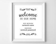 Printable WiFi Password Welcome to Our Home by ClaresPrintables
