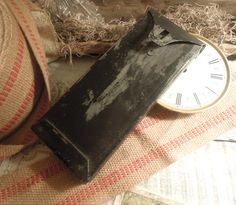 Vintage / Antique Black Metal Box / Lock Box / by AloofNewfWhimsy, $28.00