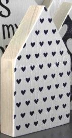 JOTS - Houten huis - Small / Large, hearts white/black