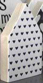 JOTS - Houten huis - Small / Large, hearts white/black