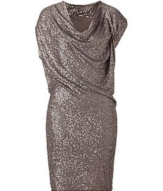 DONNA KARAN  Silver Shadow Sequined Asymmetrical Dress