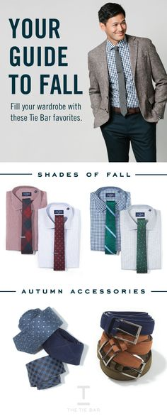 Fill your wardrobe with these Fall Styles from The Tie Bar. $19 Ties, $55 Non-Iron Dress Shirts, & $30 Suede Belts #mensbelts #neckties  #menfashion #mensstyle #mensstyle #menswear #mensclothing