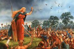 Rebelión de Boudica (60-61). La reina de los icenos arengando a los guerreros.