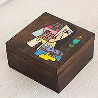 Pinewood box, 'El Salvador Woman'