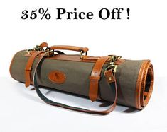 DISCOUNT 35% ! Canvas and Leather knife Roll. Knife Case Chefs Roll Chefs Bag Knives Storage Knives Roll Custom Leather Case