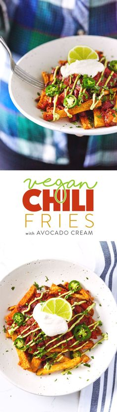 An epic version of healthy vegan chili fries. Crispy fries two ways (regular and sweet potato) tossed with flavorful spices. Topped with an easy spicy and smoky chili, and drizzled with an indulgent avocado cream. Veggie Recipes, Whole Food Recipes, Vegetarian Recipes, Cooking Recipes, Healthy Recipes, Free Recipes, Vegan Foods, Vegan Snacks, Vegan Dishes