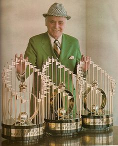 Charlie Finley with the '72, '73 and '74 World Series Trophies I love my Oakland A's!!!