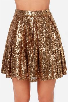 Pretty Gold Skirt - Sequin Skirt - Skater Skirt - Mini Skirt - $59.00