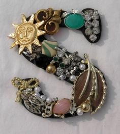 this would be cool to do with some of Mom's old costume jewelry for the girl. by Dakota Smith - June 15 2019 at Letter A Crafts, Letter Art, Vintage Jewelry Crafts, Alphabet Art, Alphabet Images, Jewelry Tree, Button Art, Costume Jewelry, Creations