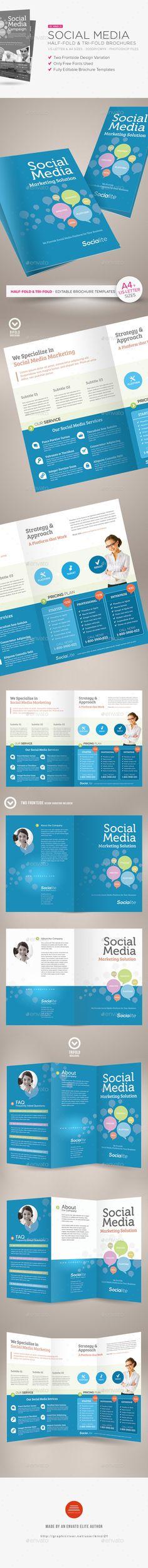 Social Media Half-fold and Tri-fold Brochures