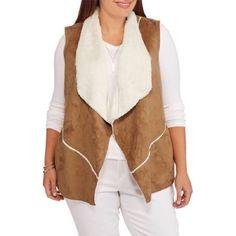 Maxwell Studio Women's Faux Sheepskin Flyaway Vest, Camel Suede, 2X