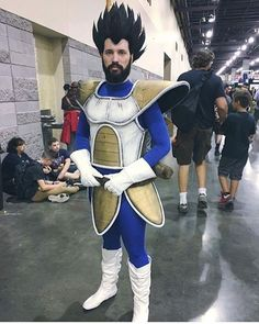 @cleverfoxes in his amazing Bearded Saiyan cosplay armor made by @cosplaycorp… - Visit now for 3D Dragon Ball Z compression shirts now on sale! #dragonball #dbz #dragonballsup