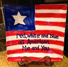 "My friend Michelle & her son painted this cool plate as a gift for her husband.  It's probably 15"" square---a very festive size for the Fourth of July.  Can't you just imagine it filled with corn on the cob?  Mmmmm.... #WrapWithLove #4thofJuly #America"