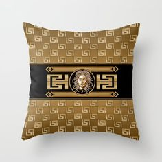 Gold Throw Pillows, Couch Pillows, Designer Throw Pillows, Medusa, Pillow Design, Pillow Inserts, Black Gold, Hand Sewing, Luxury
