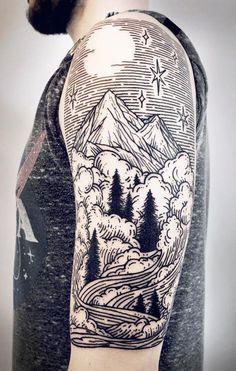 Linework Landscape And Nature Tattoos To Celebrate Your Untameable Spirit Linework landscape tattoos Lisa Orth Natur Tattoo Arm, Natur Tattoos, Couple Tattoos, Tattoos For Guys, Guy Tattoos, Lisa, Montain Tattoo, Body Art Tattoos, Tatoos