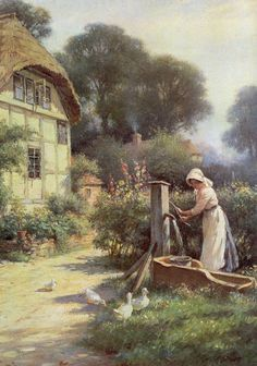 Drawing Water by a Cottage ~ William Kay Blacklock ~ (English: 1872-1924)