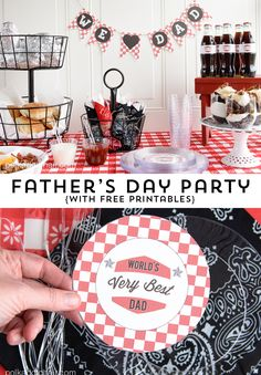 Father's Day Family BBQ Party Ideas and free printable party supplies. Recipe for easy turtle sundaes, cute party DIY's for Dad!
