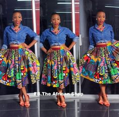 Wax print skirt from the African Shop photo midlegnthskirt. African Print Skirt, African Print Dresses, African Dress, African Fabric, African Prints, African Inspired Fashion, African Print Fashion, Africa Fashion, Fashion Prints