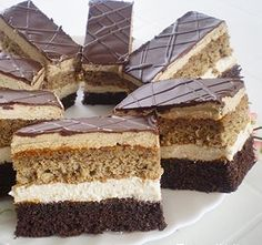 Useful articles and recipes: Charming Angelika slice Eta style Hungarian Desserts, Hungarian Cake, Hungarian Recipes, My Recipes, Cookie Recipes, Romanian Food, Cake Bars, Cake Cookies, Nutella