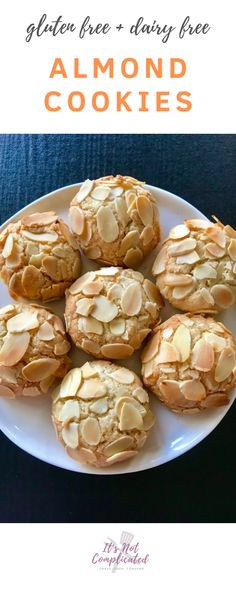 Make with sweetener for Keto. Gluten Free and Dairy Free Almond Cookies - It's Not Complicated Recipes Gluten Free Almond Cookies, Dairy Free Cookies, Almond Flour Recipes, Gluten Free Baking, Gluten Free Desserts, Dairy Free Recipes, Dessert Recipes, Healthy Recipes, Dinner Recipes