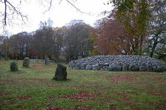 On a gravel terrace above the River Nairn is one of Scotland's most evocative sacred prehistoric sites. The Clava Cairns are dominated by a line of three exceptionally well-preserved burial cairns, each enclosed by stone circles. We know little about who the cairn builders were, for they left no written record.