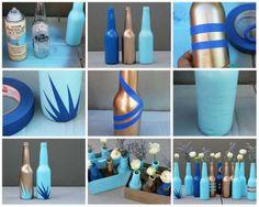 De jolis vases avec des bouteilles en verre de récupération