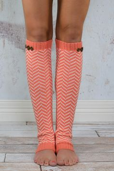Coral Chevron Button Leg Warmers