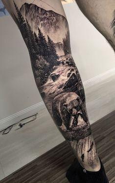 Forest Tattoo Sleeve, Nature Tattoo Sleeve, Wolf Tattoo Sleeve, Full Sleeve Tattoo Design, Forest Tattoos, Half Sleeve Tattoos Designs, Forearm Sleeve Tattoos, Native American Sleeve Tattoos, Wilderness Tattoo