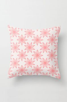 Tropical Floral Lines Throw Pillow