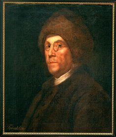 A oil on canvas portrait of Franklin, shown wearing his spectacles and the famous Canadian fur cap. Benjamin Franklin, by an unidentified painter, after Charles Nicolas Cochin's drawing or the engraving from it by Augustin de Saint Aubin, circa 1777-1780.
