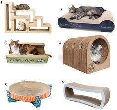 6 Unique Cardboard Cat Scratchers http://www.floppycats.com/6-unique-cardboard-cat-scratchers.html