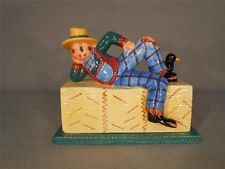 Ceramic Scarecrow Covered Butter Dish - small chip on base